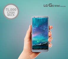 Rs 10,000 cashback on LG G6 smartphone at Amazon.in/app on 25th April'17(10 AM to 10 PM) only for Amazon prime customers who transact using SBI credit card