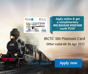 IRCTC Platinum Railway Card For a generation that's always travel Limited Period Offer   Apply online and get BookMyShow Voucher* worth Rs.250  Apply now *T&C Apply